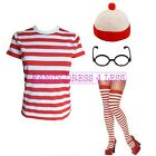 LADIES NERD FANCY DRESS TSHIRT RED & WHITE STRIPE HAT GLASSES SOCKS FUNNY GEEK