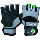MEISTER WRIST WRAP WEIGHT LIFTING GLOVES w/ GEL PADDING Workout Gym Crossfit NG