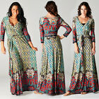 BOHEMIAN Multicolor w/Red Jersey MAXI DRESS Wrap MOROCCAN MOSAIC Long Skirt BOHO