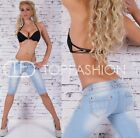 Sexy Women's Cropped Jeans Blue Capri Shorts Light Blue UK 6-14
