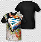 Superman Urban Shields Graffiti DC Comics All Over Front Sublimation T-shirt Top