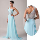 New Stunning Sexy Back One Shoulder Bridesmaid Ball Gown Prom Long Wedding Dress