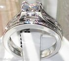 Size  R T 9 10  2PC SET WEDDING Engagement Ring Stainless Steel White LTK0W383E