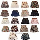 Womens Retro High Waist Pleated Floral Chiffon Pantskirt Short Mini Skirt + Belt