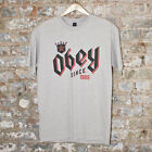 Obey Bar King Casual Short Sleeve T-Shirt New - Heather Grey - Size: M,XL