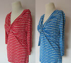 LINEA HOUSE OF FRASER CROSS OVER STRIPE JERSEY TOP RED OR BLUE BNWOT