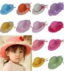 New Cute Kid Child Straw Beach Hat Wide Brim Lace Ribbon Shade Autumn Outdoor