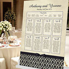 DAMASK STYLE PERSONALISED WEDDING TABLE PLAN SEATING PLAN-MANY COLOURS AVAILABLE