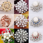 NEW Silver Bouquet Crystal Rhinestone Faux Pearl Wedding Party Flower Brooch Pin