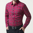 Summer New Casual Style Dress Shirts Trendy Mens Slim Fit Red Checkered T Shirts