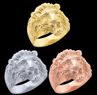 Men's Lion Head White Yellow Rose Gold Large Rings