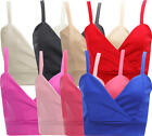I34 NEW WOMEN GIRLS CROP BRA TOP LADIES BRALET PLAIN STRAPPY BRA IN SIZE 08-14