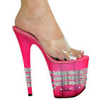 !NEW! MADE TO ORDER HAND MADE KARO'S PLATFORM CLEAR W SWAROWSKI LA MULE SANDAL