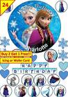24 Frozen Elsa Cup cake Toppers Personalised Custom Edible Icing or Wafer Custom