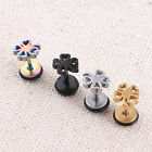 E092 2PC Titanium steel Four-leaf clover Stud Earrings Tragus Prevent allergy