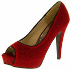 Ladies Red Glitter Court Shoes Sparkly Peep Toe Platforms Party Wedding Shoes