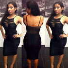 Mesh Sheer Splice Bandage See Thru Backless Strap Pencil Club Party Midi Dress C