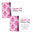 Personalised birthday party invitations PINK WHITE DAMASK FREE ENVELOPES & DRAFT