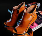 New Fashion Elegant Womens Ladies Peep Toe Ankle Boot High Heel Date Party Shoes