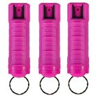 3 PACK POLICE MAGNUM OC-17 MACE PEPPER SPRAY 1 2oz HOT PINK MOLDED KEYCHAIN
