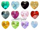 2 PC SWAROVSKI ELEMENTS 6228 HEART 10mm Pendant Crystal -  All Colours & Effect