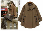 Hot sale winter woman fashion solid color thicken Loose Cape coat