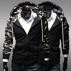 New Fashion Mens Camouflage Zip-up Hooded Hoodies Jackets Coats 2 Colors MWW219
