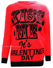 G32 NEW WOMENS LADIES KNITTED KISS ME IT'S VALENTINES DAY PRINT JUMPER IN 08-22