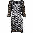 WOMENS LADIES PARTY BODYCON BLACK WHITE LACE DRESS PLUS SIZE 16 - 26