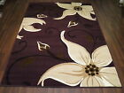 FLORAL RUG LILY PURPLE WOVEN FLOWERED MODERN RUNNERS SMALL LARGE LIVING ROOM