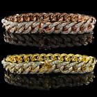 18K Gold Iced Out CUBAN Miami Chain Link Rose Micropave Lab Diamond Men BRACELET