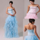 Cheap~Strapless Long Organza Bridesmaid Prom Ball Gown Evening Prom Party Dress