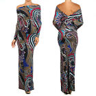 PAISLEY Print MULTI WAY Reversible PLUNGING Convertible MAXI DRESS Off Shoulder