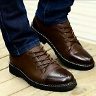 Retro Mens Dress Formal Wingtip Oxford Brogues Lace Up Real Leather Shoes
