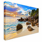 Tropical beach at sunset Canvas Art Cheap Wall Print Large Any Size
