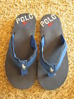 Ralph Lauren Childrens  Navy  Blue  Flip Flops with white polo pony on front