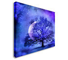 Lonely tree before the Moon Canvas art Cheap Print Wall Art sq