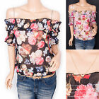 Free Necklace Chiffon Off Shoulders Floral Prints Short Sleeves Blouse Top
