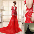 Sexy Backless Long Homecoming Mermaid Formal Evening Party Dresses Gowns US2-16