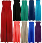 Womens Plus Size Boob Tube Maxi Stretch Sheering Summer Beach Maxi Dress  8-26