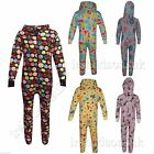 NEW KIDS GIRLS BOYS CAT FRUITY TREE PRINT Onesie ALL IN ONE JUMPSUIT 100% COTTON