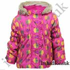 NEW GIRLS FRUIT APPLE PRINT PADDED FUR HOODED LIGHT WEIGHT COAT JACKET 12Mth-3Yr