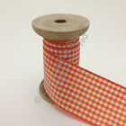 Berisfords Gingham (Small Check) Ribbon -42 Orange Delight CHOOSE WIDTH & LENGTH