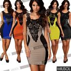 Women Sexy Stretch Lace Contrast Bodycon Cocktail Party Evening Bodycon Dresses