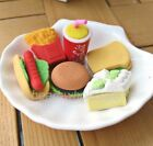 Fast food and cake Pencil Eraser Set  Assorted Party Favor Supply Bag Prize