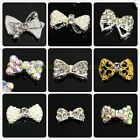 10/50pcs Plated 3D Alloy Metal Rhinestone Bow Tie Nail Art Phone Slice DIY Decor