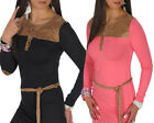 Womens Long Sleeve Button & Belted Tunic Stretch Bodycon Mini Dress - Size M # 3