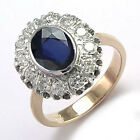 14k Rose & White Gold Genuine Sapphire & Diamond G/SI1 Russian Style Ring R1805