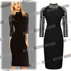 Women's Sexy Hollow Out Neck 3/4 Sleeve Pencil Party Dress Slim Fit US size 0-18