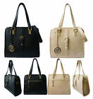 New Women Faux Leather Buckle Design Gold Charm Tote Shoulder Bag Office